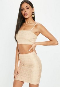 Read more about Nude bandage ribbed bralet gold
