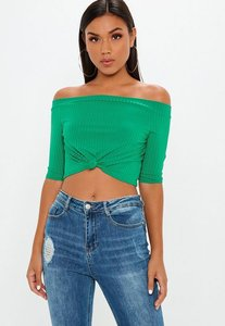 Read more about Green bardot knot front ribbed crop top green