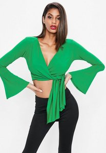 Read more about Green flared sleeve tie side wrap crop top green