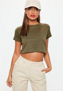 Read more about Khaki cropped cap sleeve t shirt beige