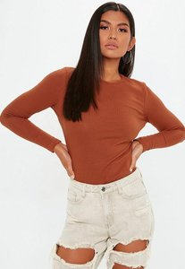 Read more about Rust ribbed crew neck top brown