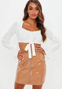 Read more about White milkmaid long sleeve tie front crop top white