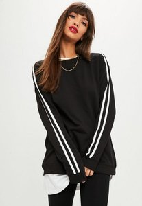 Read more about Black stripe sleeve oversized sweater black