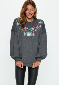 Read more about Grey oversized floral embroidered front sweatshirt grey