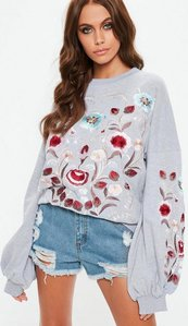 Read more about Grey floral embroidered puffed sleeve sweatshirt grey