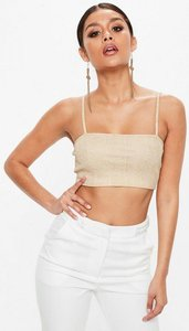 Read more about Gold ribbed cami square crop top gold