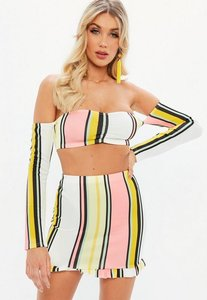 Read more about White multi coloured stripe long sleeve bardot crop multi