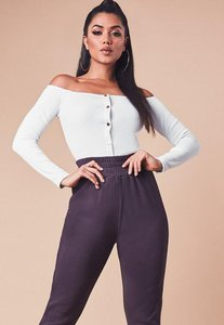 Read more about White ribbed long sleeve bardot popper crop top white