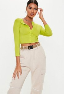 36d3c91531878 Read more about Neon lime button front long sleeve crop top neon green
