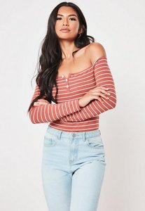 Read more about Pink stripe button front bardot bodysuit pink