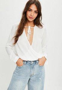 Read more about White chiffon tie detail wrap blouse white