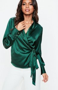 Read more about Green satin deep cuff tie waist plunge blouse blue