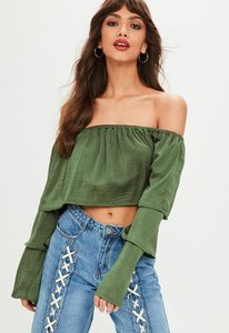 Read more about Green satin tiered sleeve bardot crop top beige
