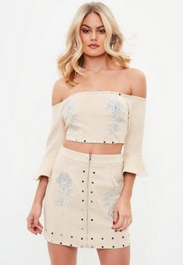 Read more about Nude rose suedette crop top beige