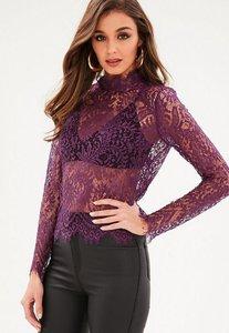 Read more about Purple high neck eyelash soft lace blouse purple
