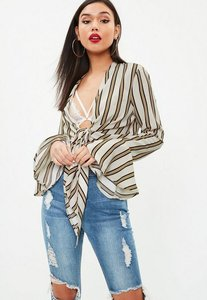 Read more about Beige striped flared sleeve knot front blouse cream