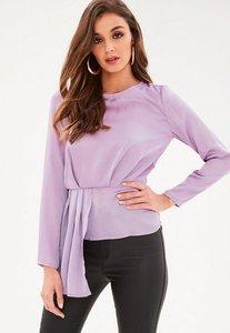 Read more about Purple long sleeve tier drape front blouse purple