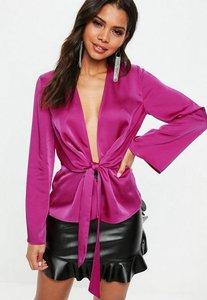 Read more about Purple satin drape plunge blouse purple