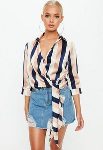 Read more about Navy chunky stripe wrap over 3 4 sleeve tie side blouse pink