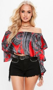 Read more about Red scarf print tiered sleeve satin bardot crop top red