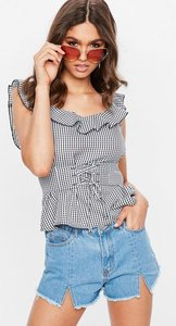 Read more about Black gingham corset waist frill cami top black
