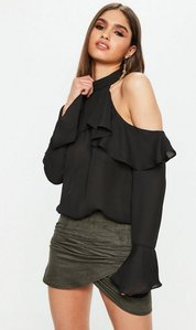 Read more about Black cold shoulder frill blouse black