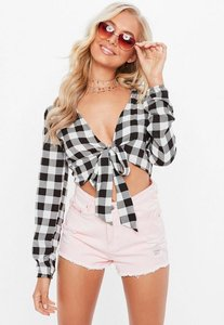 Read more about Black tie front gingham crop top black
