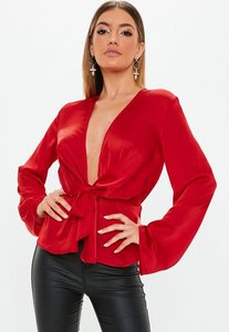Read more about Red satin drape plunge blouse red