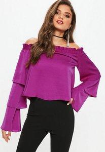 Read more about Purple satin tiered bardot blouse purple