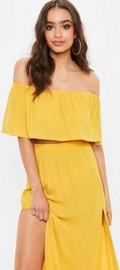 Read more about Yellow frill bardot crop top yellow