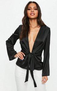 Read more about Black satin drape plunge blouse black