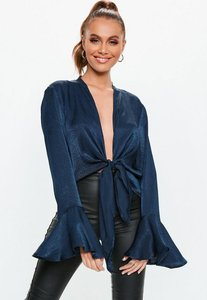Read more about Navy satin tie front blouse blue