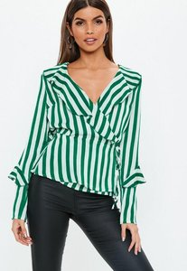 Read more about Green stripe wrap frill satin blouse green