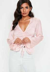 Read more about Pink ruched front long sleeve satin blouse beige