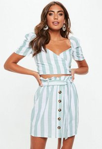 Read more about Green and white striped puff sleeve wrap over crop top green