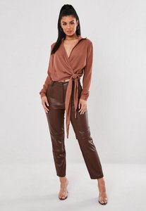 Read more about Rose wrap over tie side blouse rose