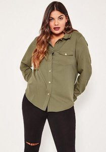 Read more about Plus size exclusive khaki military shirt beige