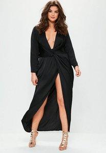 Read more about Plus size black satin thigh split wrap maxi dress black