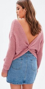 Read more about Curve pink fluffy yarn twist back jumper pink