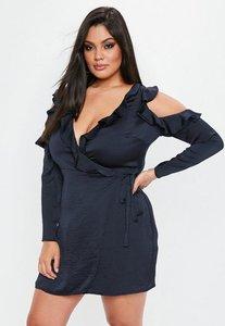 Read more about Curve navy cold shoulder hammered satin dress blue