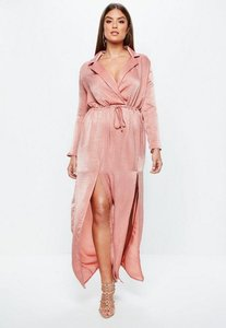 Read more about Curve pink split front satin maxi dress pink