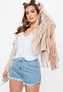 Read more about Curve stone faux suede fringed biker jacket grey