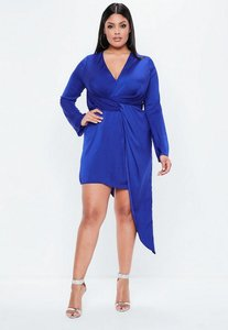 Read more about Curve blue hammered satin asymmetric dress blue