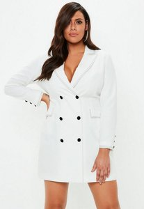 Read more about Curve white crepe contrast stitch blazer dress white