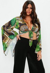 Read more about Curve green palm print tie front crop top green
