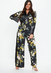 Read more about Plus size floral print wide leg side stripe trousers multi