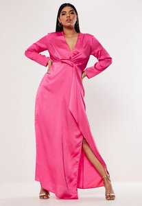 Read more about Plus size pink satin thigh split maxi dress hot pink