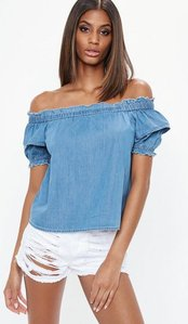 Read more about Blue bardot frill denim crop top blue