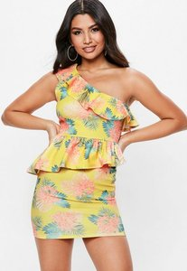 Read more about Yellow one shoulder hawaiian dress yellow