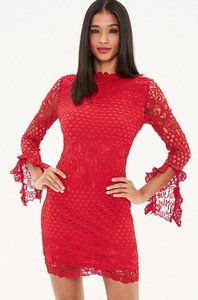 Read more about Red high neck crochet long sleeve mini dress red